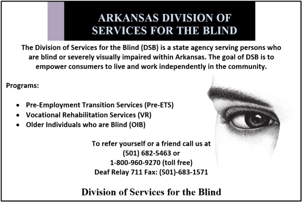 Ad for Division of Services for the Blind